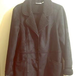 Denim & Co Black Faux Suede Jacket Size Medium